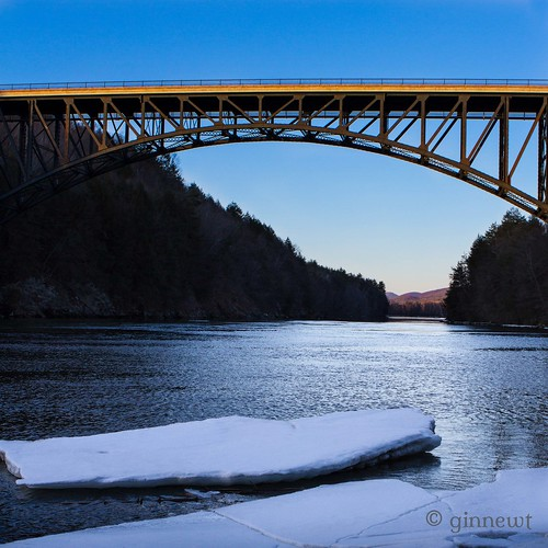 bridge blue sunset ice water yellow architecture canon river iceflow
