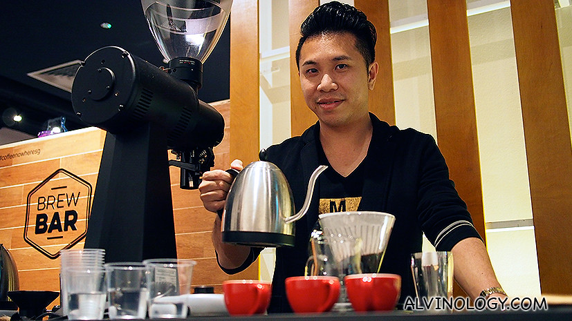 Coffee:Nowhere CEO Welson Ang practising his skills at the Brew Bar