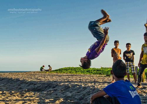 beach kids happy sand play acrobat province teampilipinas