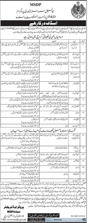 Government of Sindh MSDP Career Opportunities