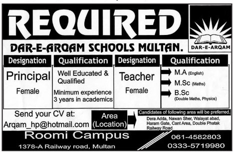 Dae-E-Arqam School Jobs in Multan