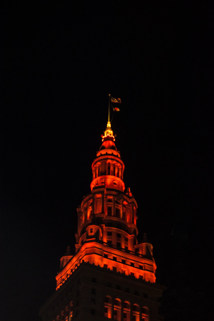 red-lit Terminal Tower
