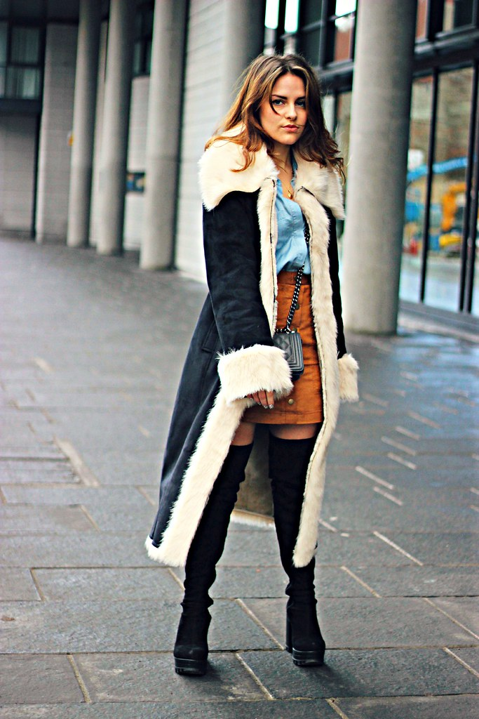 Marks and Spencer shearling and suede coat
