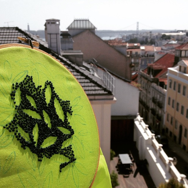 French knots in May's #embroidery for the #airembroideryclub. Thinking of #spring and enjoying the view over #lisbon #lisboa