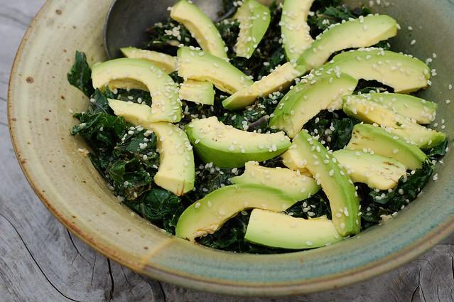 Warm kale salad with tahini ginger sesame dressing and avocado by Eve Fox, the Garden of Eating, copyright 2015