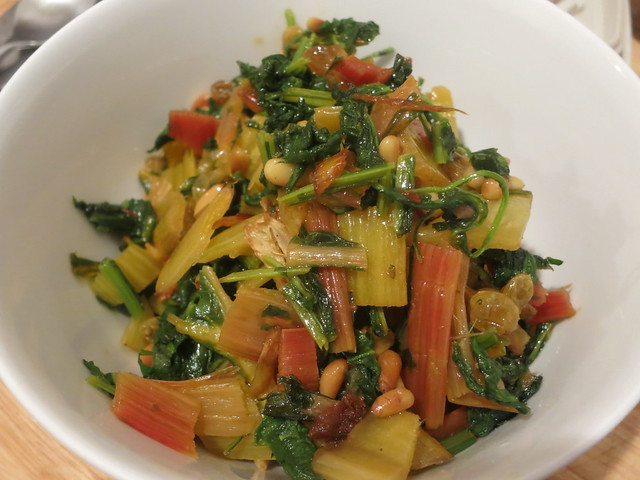 Chard, greens, anchovy and pine nuts