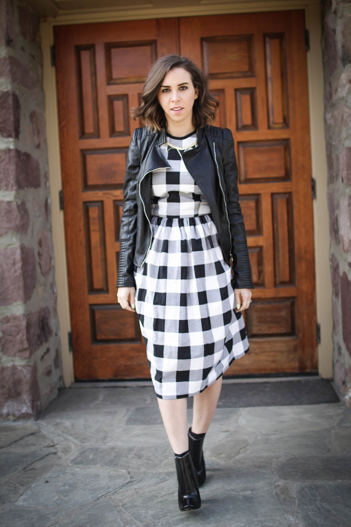 aviza style. fashion blogger. dc blogger. faux leather zara jacket. dvf booties. gingham dress. spring trends. spring dress. gingham 1