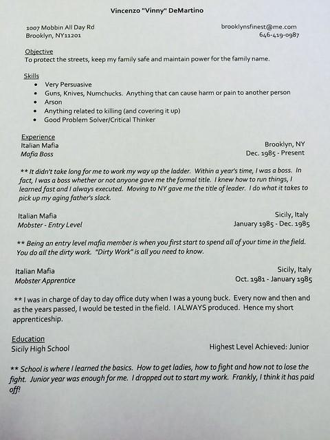 Vinny D's Resume