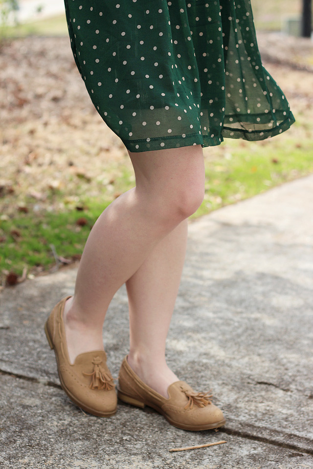 Dotted Green Dress and Flat Tassel Loafers