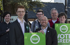 Ross Greer and Patrick Harvie, Scottish Green Party campaigning in Milngavie on 21 March 2015.