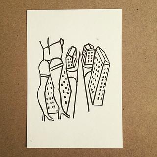 #linocut #postcard