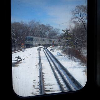 Blue Line with blue sky--and snow