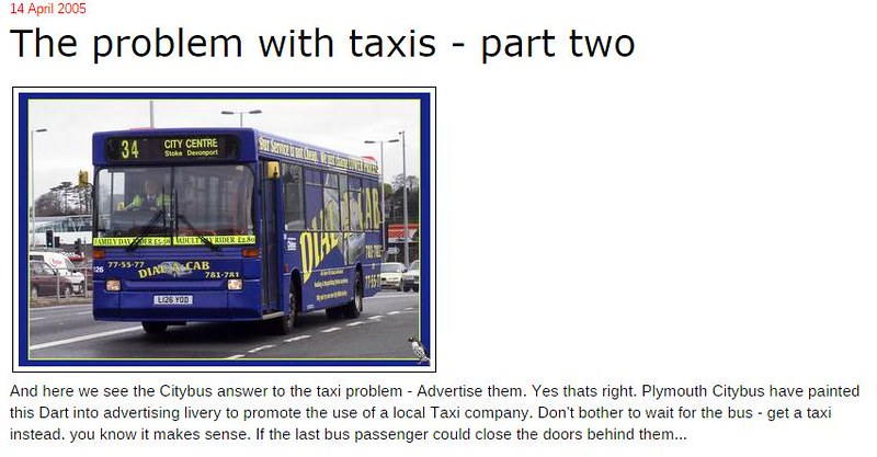 Plymothian Transit- The problem with taxis - part two