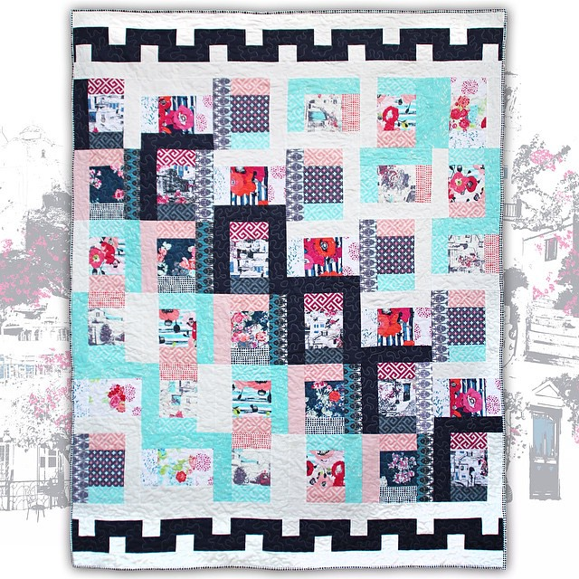 As the quilt featuring my #skopelosfabrics has the official name given, thanks to you dear friends, I am presenting you #skopeloswindows #quilt 😊🎉 #katarinaroccella #ArtGalleryFabrics #WeAreFabrics #aurifil