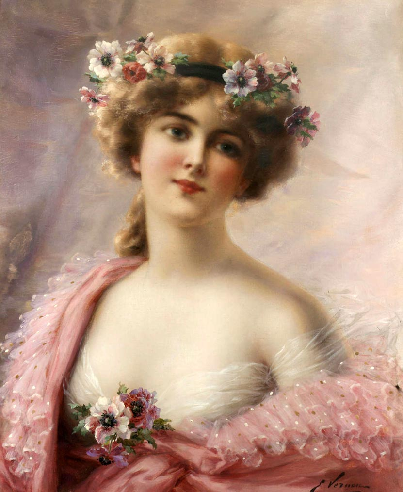 Young Girl with Anemones by Emile Vernon, Date unknown
