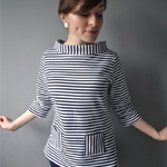 Funnel Neck Striped Coco Top