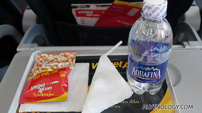 Complementary inflight cashew nuts and water for Skyboss passengers