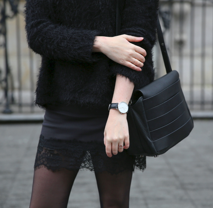 outfit: lace slip skirt, daniel wellington watch