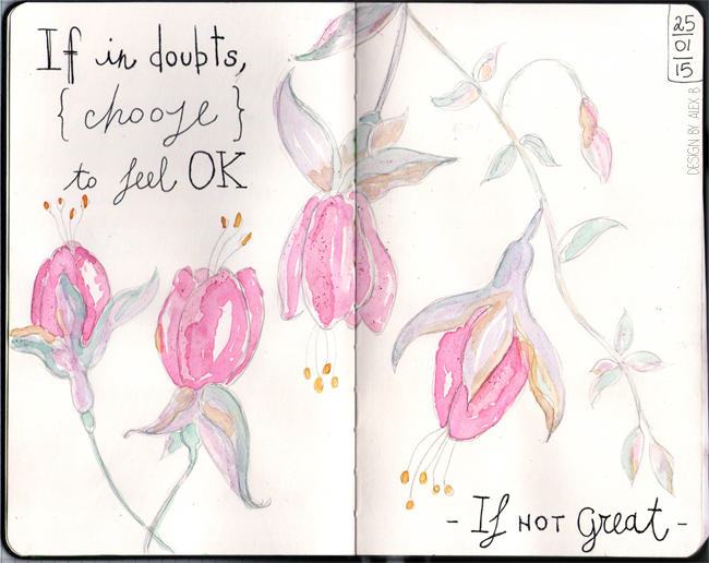 moleskin-sketch-art-journal-page-feel-ok-motivational-watercolour-flowers-pastel