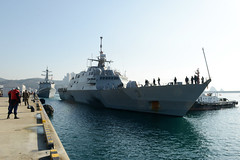 USS Fort Worth (LCS 3) arrives in Busan, March 14. (U.S. Navy/MC1 Abraham Essenmacher)