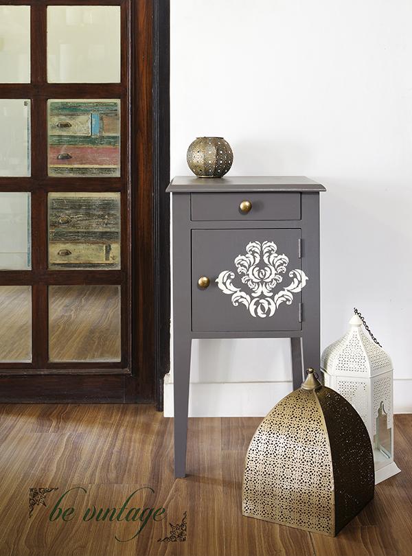 Stenciled grey stool