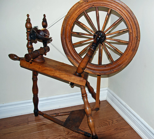 Restored antique Nova Scotia flax spinning wheel by William McDonald