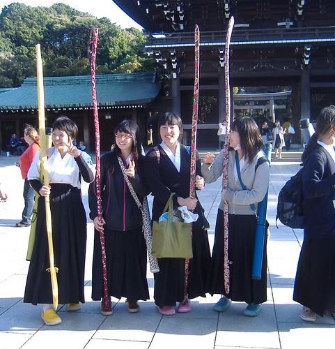 Schoolgirl archers at the Meiji shrine