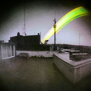 Recent Solargraphy #Pinhole camera test. One month exposure pointed East. 02/17-03/17-2015. #Solargraphy #Solarigrafia #Madrid #redbull canister cylindrical projection #ilford photosensitive paper.