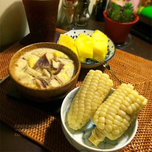 Steamed egg, corn, pineapple, black tea