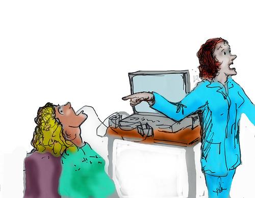 Scientist computer electrodes robinhuttonart artwork drawing cartoon copy