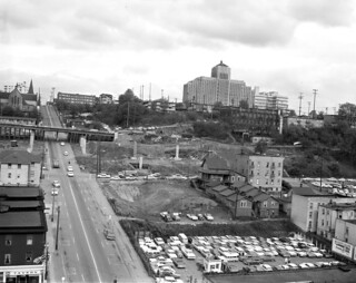 James Street during freeway construction, 1963