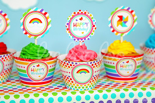 21b - Rainbow - Party Circle & Cupcake Wraps - B41