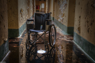 The ever popular wheelchair, this time fitted with a paranormal EMF Scanner . .