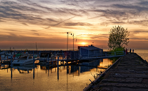 sunset ohio lake tree water skyline evening boat spring fishing dock yacht outdoor dusk cleveland erie breakwall