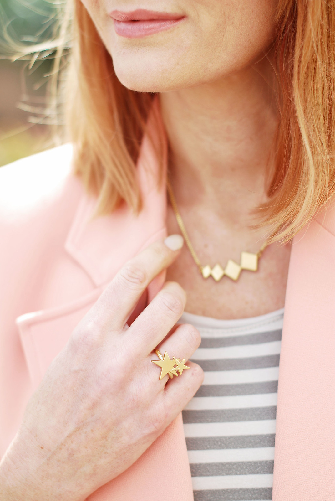Spring/Summer Style: Peach, Breton striped top, Lizzy O Boutique gold stars ring | Not Dressed As Lamb