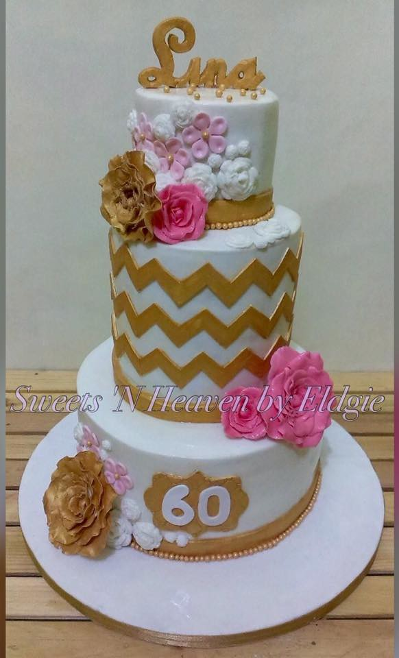 Gold, White and Pink 60th Birthday Cake by Gha Viray