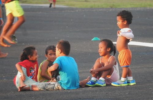 funafuti tuvalu runway children group sunset