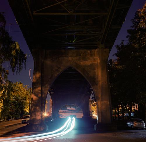 longexposure bridge urban 6x6 film night oregon analog mediumformat portland pacificnorthwest lighttrails stjohnsbridge filmisnotdead