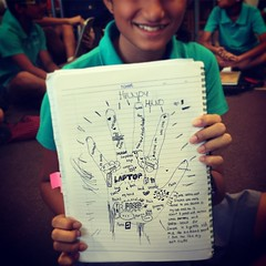 Kids are really getting into this. Writing around our hands. @pennykittle #uwcsea_east here's an example, @hambino :) #TCRWP