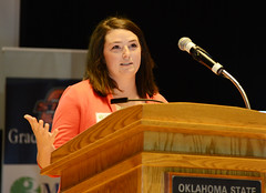 Katie McCauley, an OSU master's degree student in plant and soil science, makes her winning Three Minute Thesis presentation April 16 during the OSU 3MT competition finals. As the 2015 winner, McCauley won $1,000 and will represent OSU in a regional 3MT competition.
