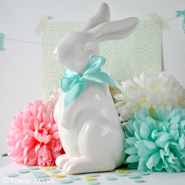 Ceramic bunny with ribbon bow