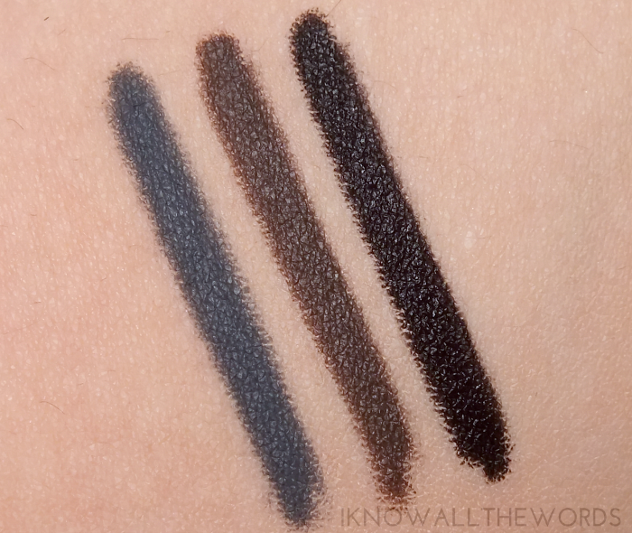mary kay eyeliner swatches steely, deep brown, black