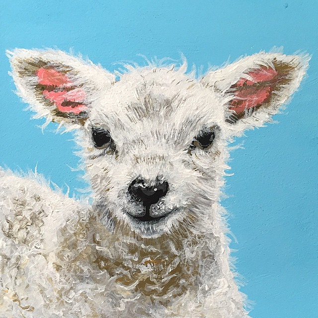 All finished my lamb! Now to make the flower crown for her head... #art #acryla #holbein #lamb #kidsart #nurseryart #nurserydecor #painting