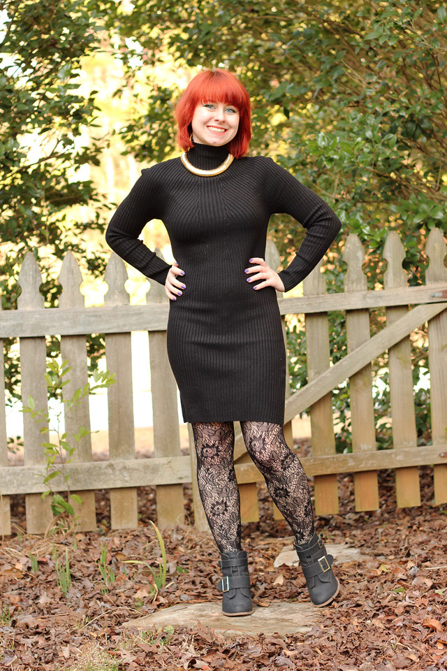 Black High Neck Bodycon Sweater Dress, Gold Choker, Lace Patterned Tights, and Ankle Boots