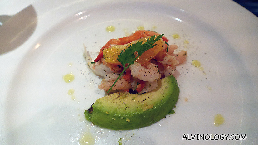 Avocado, orange and shrimps starter
