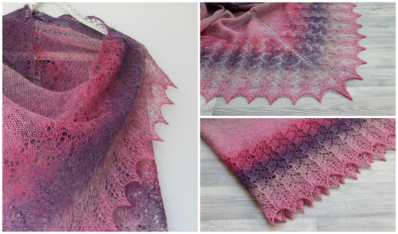 Pink purple lace shawl