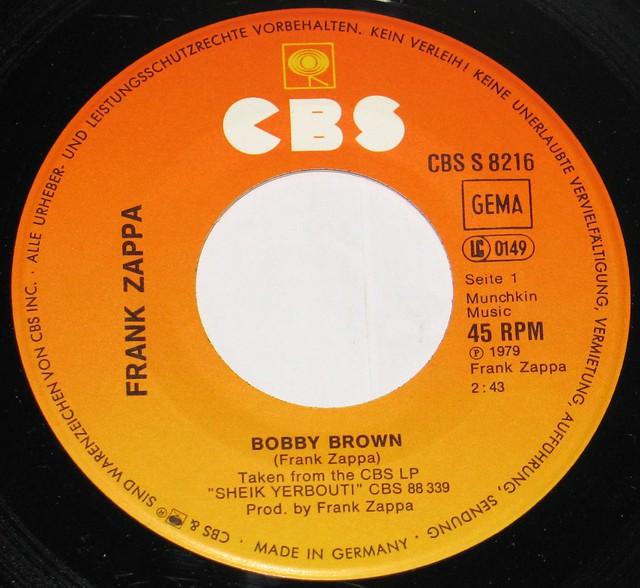 "Frank Zappa - Bobby Brown / Stick it Out 7"" Single"