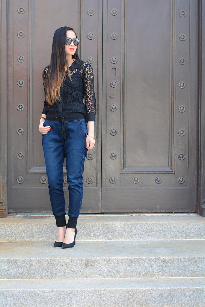 denim joggers pants, black lace blouse top - fashion outfit
