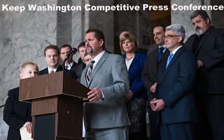 Rep. Van Werven attends press conference of the Keep Washington Competitive Caucus.
