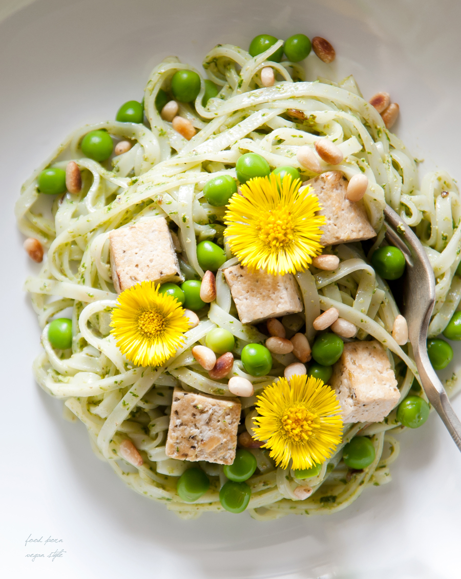 Spring noodles with pesto,tofu,peas and coltsfoot flowers